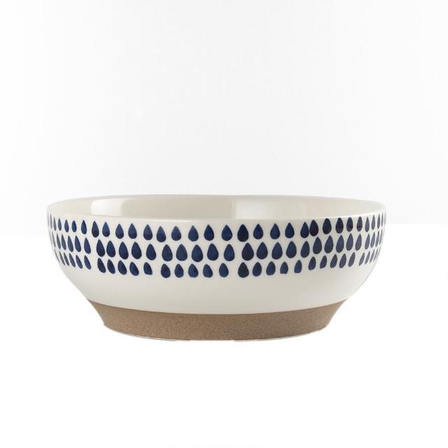 【Royal Duke】復古手繪藍彩系列-8吋碗-羽點(復古 彩繪 圓點 陶瓷 小碗 飯碗)