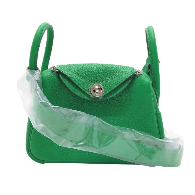 【Hermes 愛馬仕】Mini Lindy 19cm 牛皮手提肩背兩用包(1K-竹子綠)
