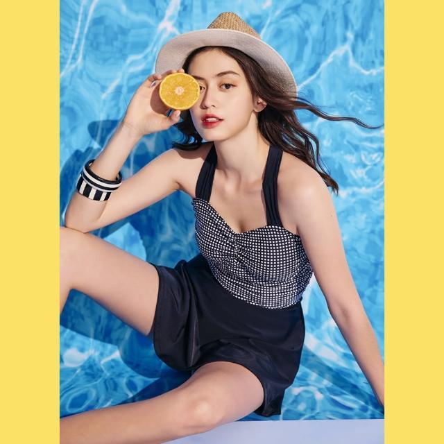 【SAIN SOU 聖手牌】連身裙泳裝附泳帽(A982103)