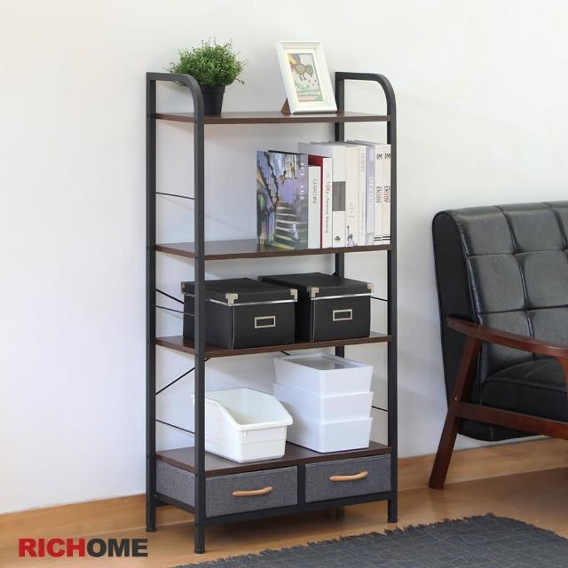【RICHOME】凱爾120CM64CM工業風雙抽四層架/置物架/書架/收納櫃(多功能用途)