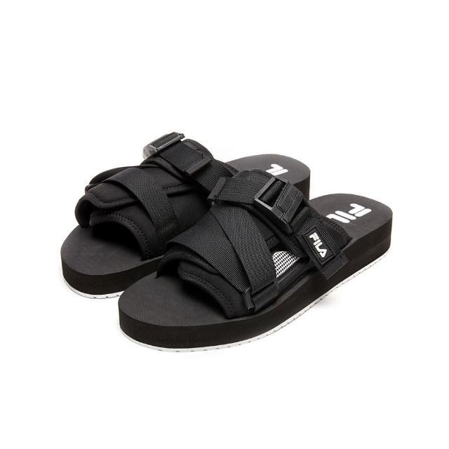 【FILA】拖鞋 SOL-SLIDE V2 寬版織帶拖鞋-黑(1-S638V-013)