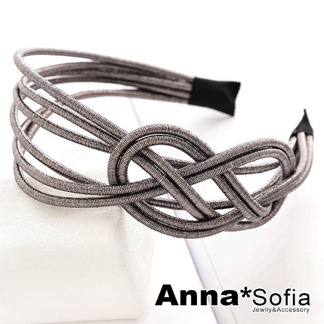 【AnnaSofia】韓式髮箍髮飾-隱光8璇多線織結(咖灰系)