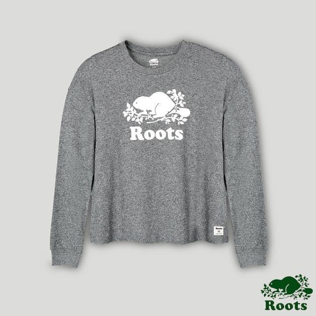 Roots【Roots】Roots女裝- 經典海狸LOGO長袖T恤(灰色)