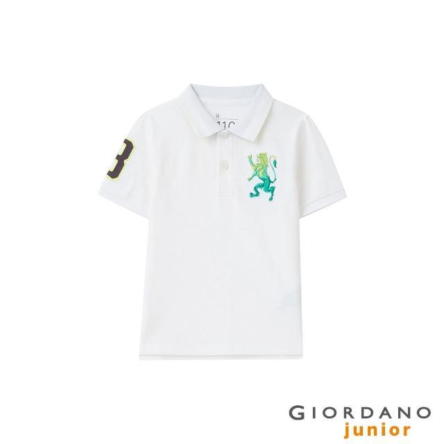 【GIORDANO 佐丹奴】童裝勝利獅王素色彈力萊卡POLO衫(01 標誌白)