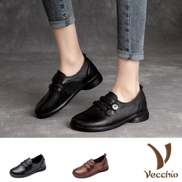 【Vecchio】真皮休閒鞋/全真皮頭層牛皮復古木釦造型軟底休閒鞋(2色任選)