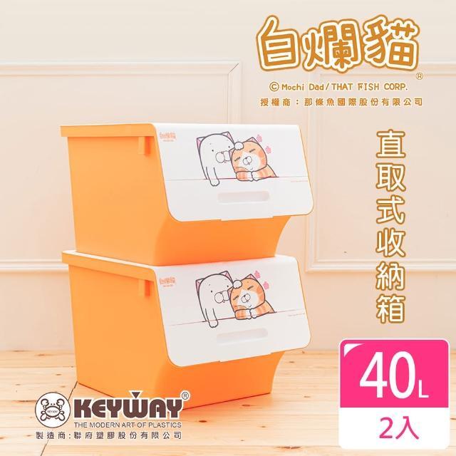 【dayneeds 日需百備】新款白爛貓直取式收納箱_中 二入(塑膠箱/衣物收納/收納箱/置物箱)