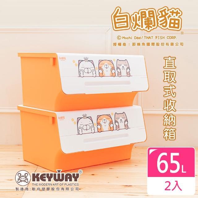 【dayneeds 日需百備】新款白爛貓直取式收納箱_大 二入(塑膠箱/衣物收納/收納箱/置物箱)