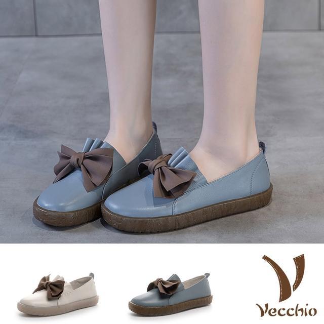 【Vecchio】真皮樂福鞋 厚底樂福鞋/全真皮頭層牛皮甜美蝴蝶結花裙造型厚底樂福鞋(2色任選)