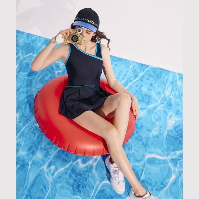 【SAIN SOU 聖手牌】連身裙泳裝附泳帽(A982107)