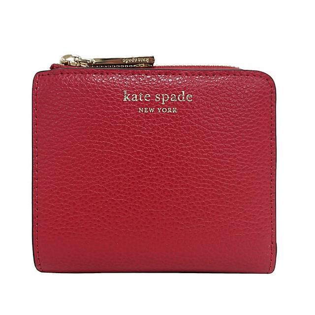 【KATE SPADE】Kate Spade EVA 金字牛皮雙折拉鍊零錢包短夾(紅)