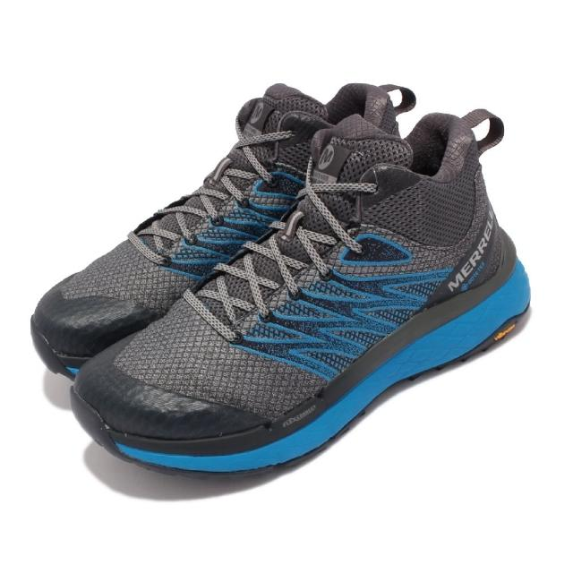 【MERRELL】戶外鞋 Rubato Mid GTX 中筒 男鞋 登山 越野 耐磨 黃金大底 防潑水 支撐 灰 藍(ML135331)