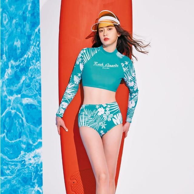 【SAIN SOU 聖手牌】二件式長袖防曬運動型泳裝附泳帽(A922139)