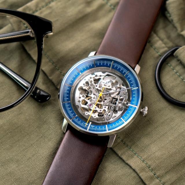 【FOSSIL】公司貨 Chase 美式復古鏤空機械皮革腕錶/咖啡x藍圈 男錶(ME3162)