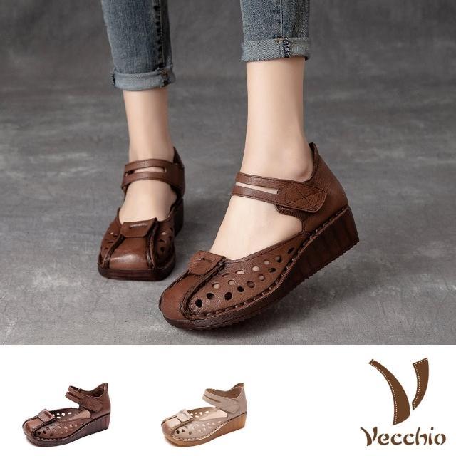 【Vecchio】真皮涼鞋 厚底涼鞋 坡跟涼鞋/全真皮頭層牛皮復古縷空手工縫線造型厚底坡跟涼鞋(2色任選)