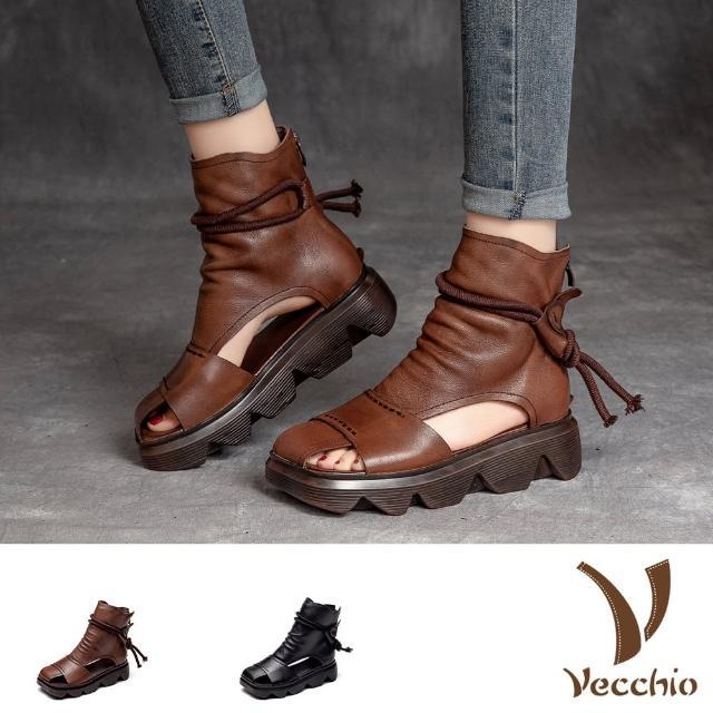 【Vecchio】真皮涼鞋 厚底涼鞋 方頭涼鞋/全真皮頭層牛皮方頭寬楦舒適復古厚底羅馬涼鞋(2色任選)