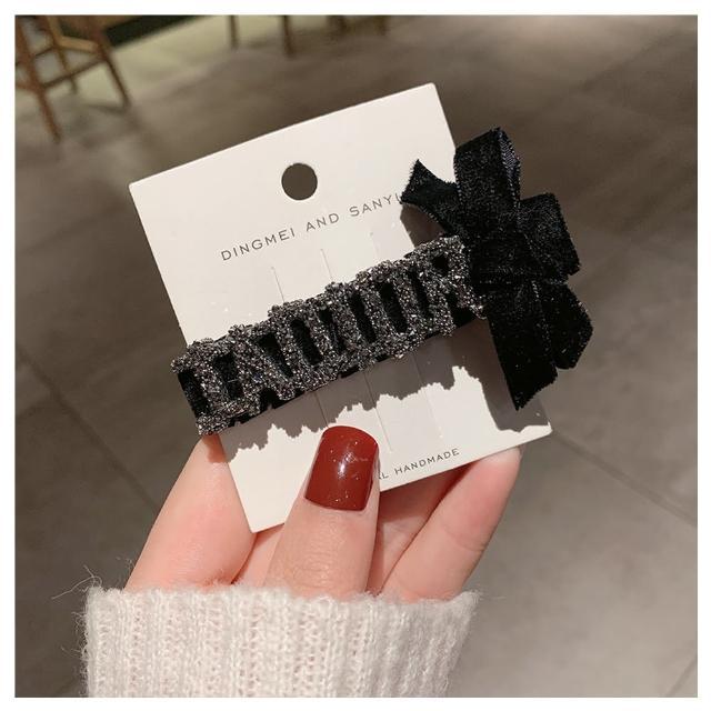 【HaNA 梨花】韓國2件套天鵝絲絨.鑽石編織一字蝴蝶結髮夾