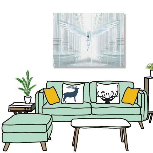 【24mama 掛畫】單聯式 油畫布 光 浮雕柱 翅膀 動物 無框畫-80x60cm(白色獨角獸)