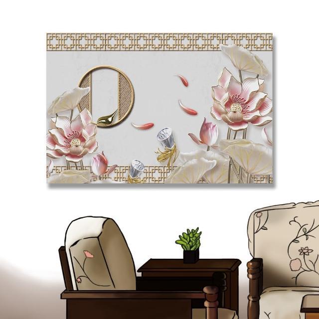 【24mama 掛畫】單聯式 油畫布 美麗植物花卉 優雅 荷葉 蓮藕 靜思語 無框畫-60x40cm(豪華睡蓮)