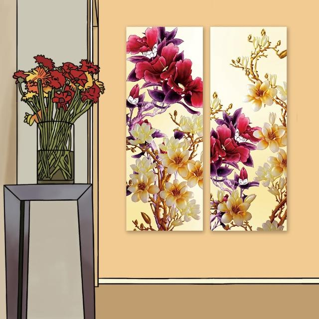 【24mama 掛畫】二聯式 油畫布 美麗花卉 細枝 淺色 深色 米色 金色 花苞 無框畫-30x80cm(玉蘭花和牡丹)