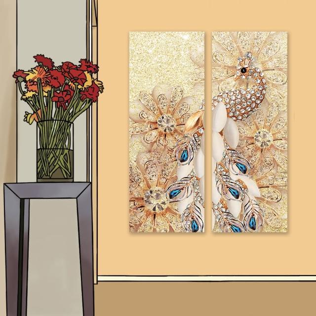 【24mama 掛畫】二聯式 油畫布 水晶 花卉 閃閃發光 明亮 動物 美麗時尚 藝術 豪華 無框畫-30x80cm(金孔雀)