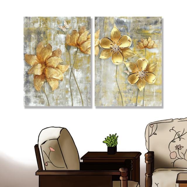 【24mama 掛畫】二聯式 油畫布 美麗花卉 金色 復古 昆蟲 蝴蝶 無框畫-30x40cm(大金花)