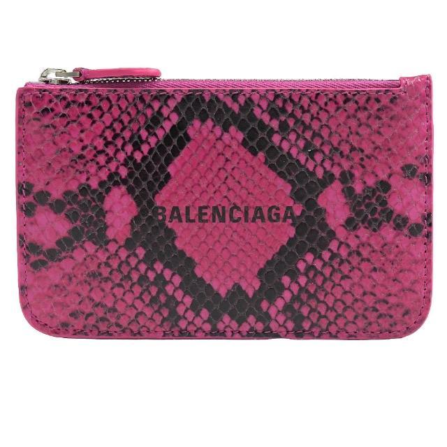 【Balenciaga 巴黎世家】品牌烙印LOGO蛇紋信用卡零錢包(桃)