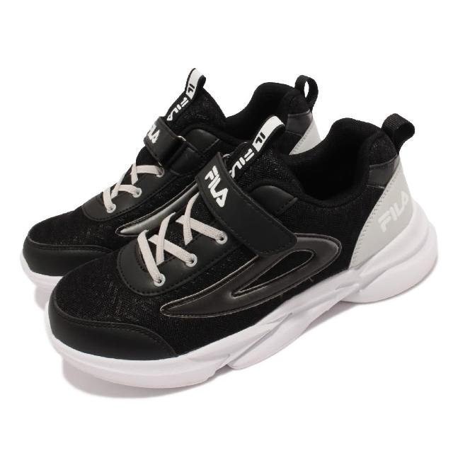 【FILA】休閒鞋 J823V 運動風 魔鬼氈 童鞋 斐樂 郊遊健走 踏青 緩震 輕量 中大童 黑 白(2J823V011)