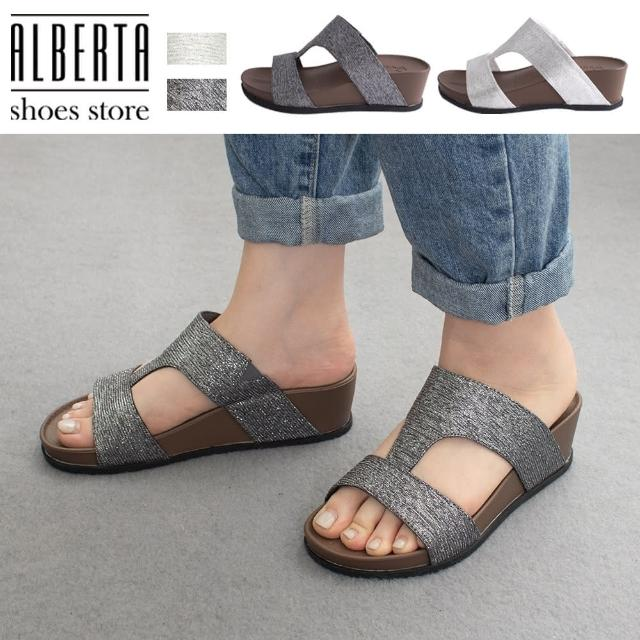 【Alberta】5cm拖鞋 休閒百搭H字金蔥 楔型厚底涼拖鞋