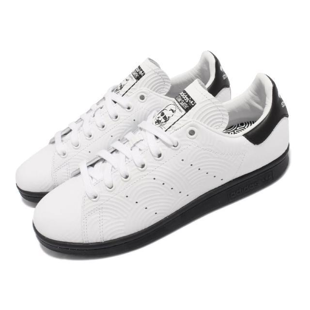 【adidas 愛迪達】休閒鞋 Stan Smith 聯名 運動 男鞋 愛迪達 老人頭 高橋理子 皮革壓紋 黑 白(FY1591)