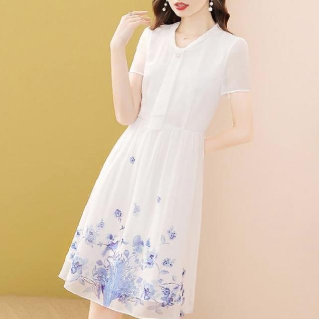 【FQ 時尚天后】白雪紡紫藍水墨鳥語花香印花洋裝(S-2XL)