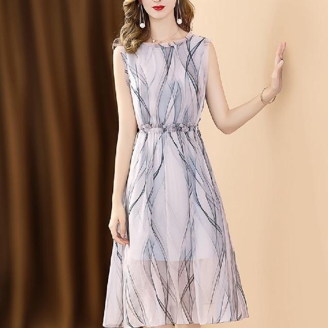 【FQ 時尚天后】無袖抽繩灰藍漸層波紋印花洋裝(S-2XL)