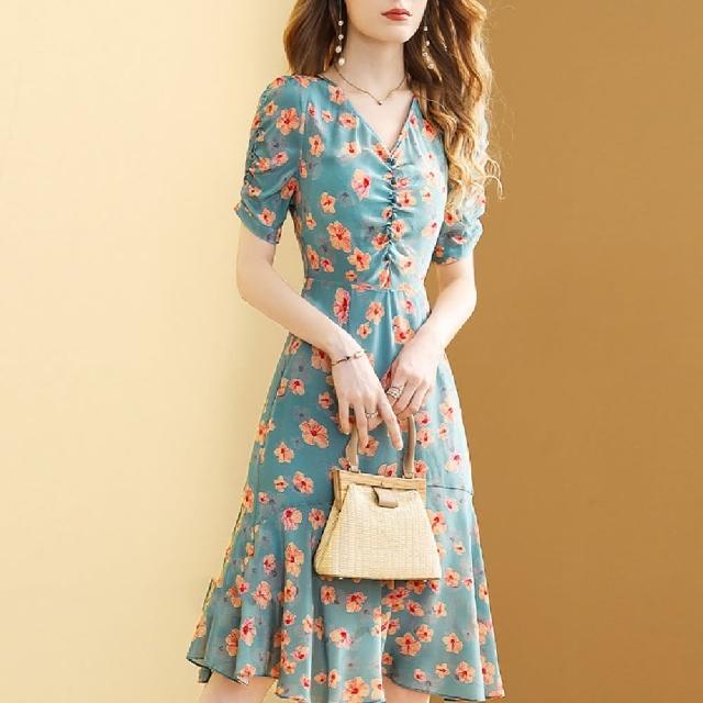 【FQ 時尚天后】碧綠藍V領黃朱槿雪紡洋裝(中大尺碼/S-3XL)