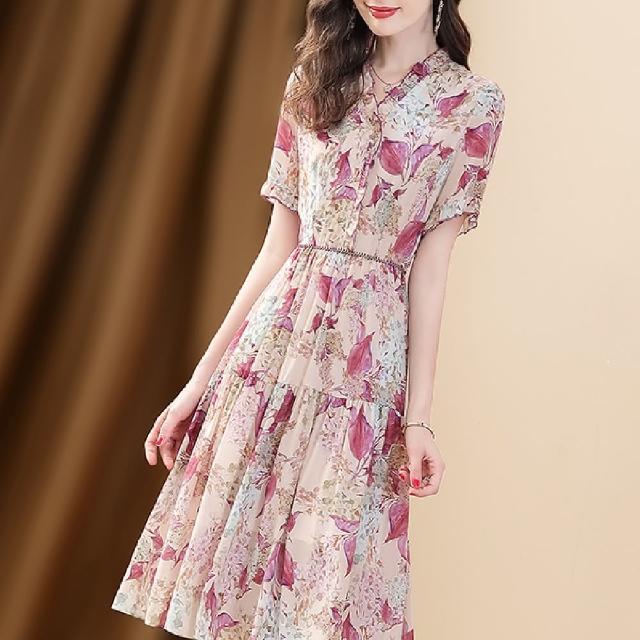 【FQ 時尚天后】紫色葉脈淺色花束雪紡洋裝(中大尺碼/S-3XL)