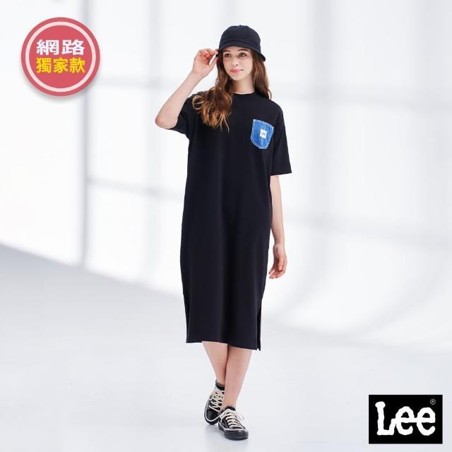 【Lee】居家時尚 口袋開衩 女短袖休閒洋裝-氣質黑