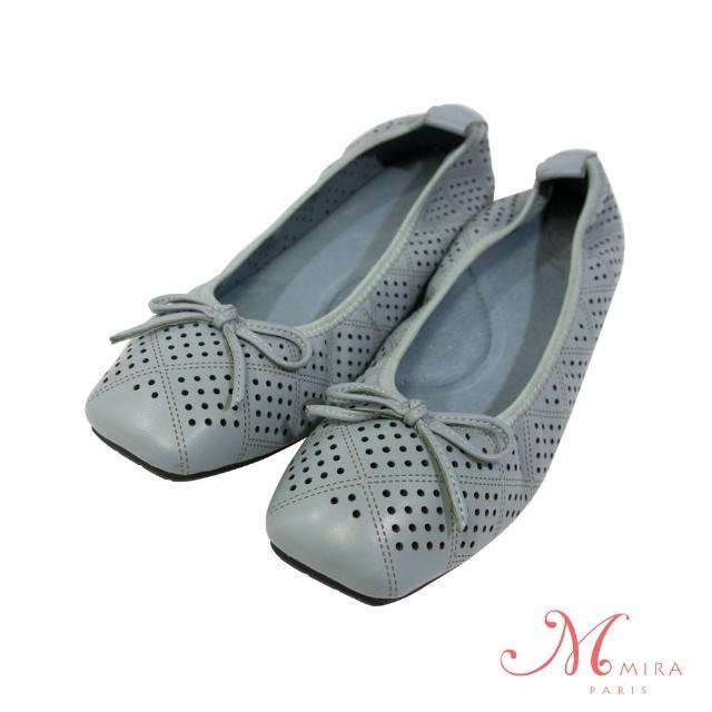 【MIRA】真皮蝴蝶結透氣柔軟方頭低跟鞋-藍色-W08019N04(真皮/透氣/方頭鞋/低跟鞋)