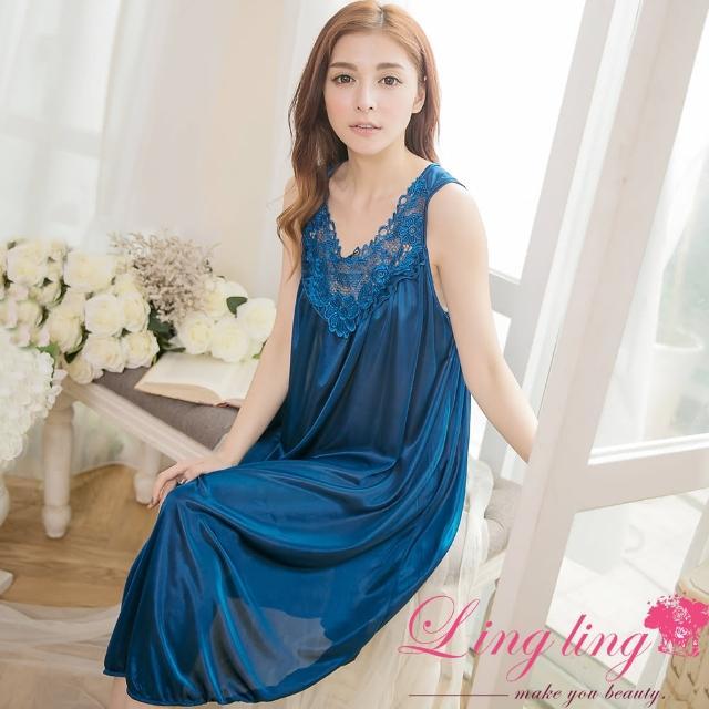 【lingling】PA2838全尺碼-刺繡英字雕花蕾絲冰絲連身背心睡衣(沉靜深藍)