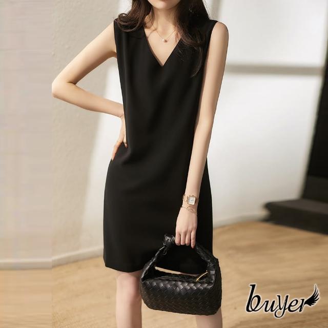 【buyer 白鵝】氣質 彈性隱形口袋無袖顯瘦洋裝(黑色)