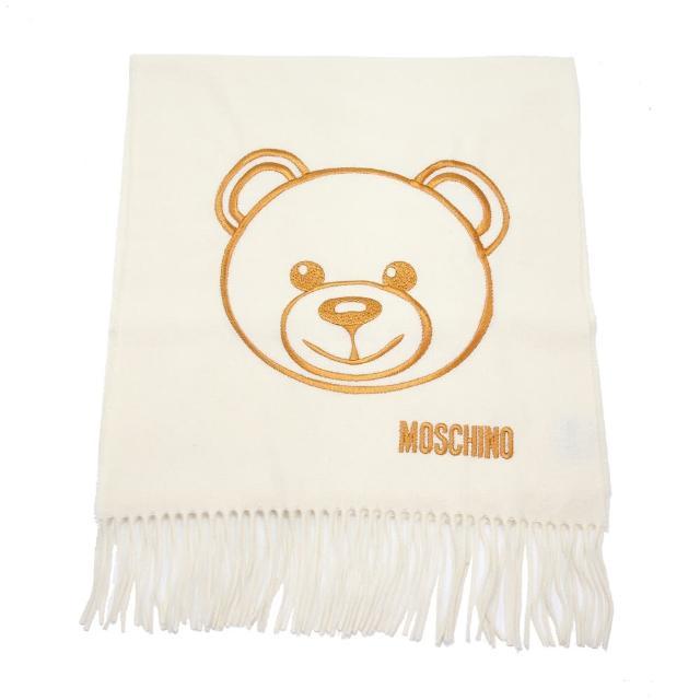 【MOSCHINO】泰迪熊臉純羊毛寬版流蘇圍巾(002 米色)