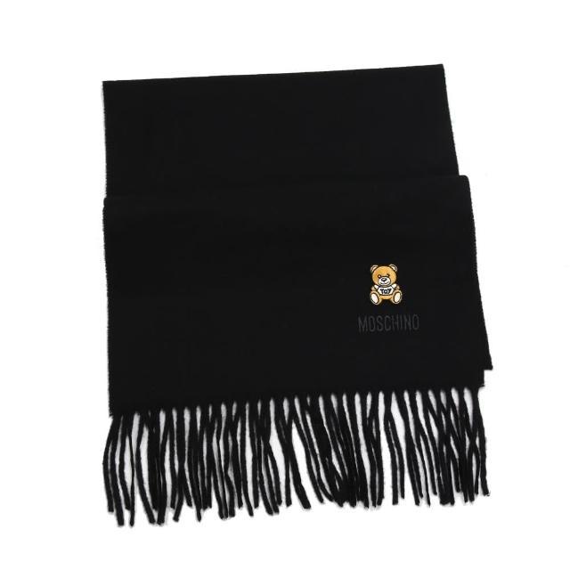 【MOSCHINO】刺繡泰迪熊純羊毛流蘇圍巾(016 黑色)