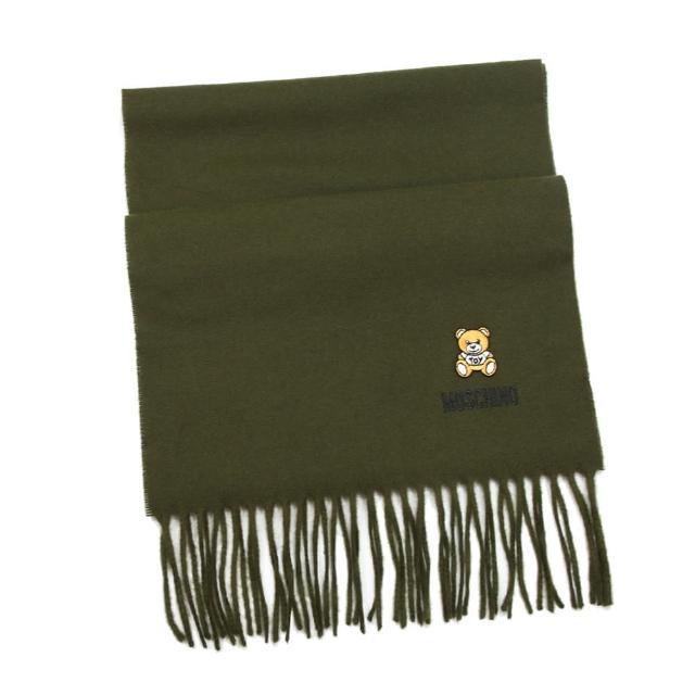【MOSCHINO】刺繡泰迪熊純羊毛流蘇圍巾(006 欖綠)