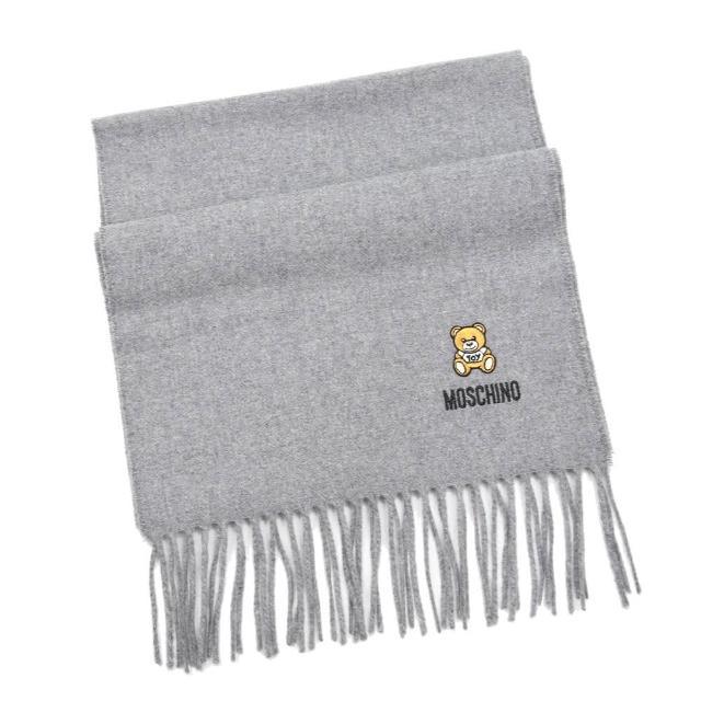 【MOSCHINO】刺繡泰迪熊純羊毛流蘇圍巾(014 灰色)