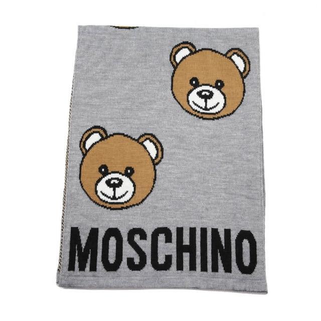 【MOSCHINO】經典泰迪熊滿版混紡羊毛圍巾(014 灰色)
