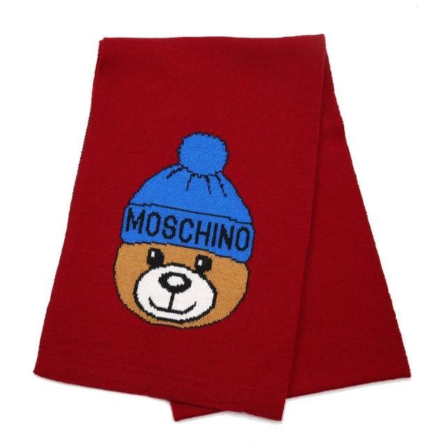 【MOSCHINO】毛帽熊混紡羊毛窄版圍巾(007 紅色)