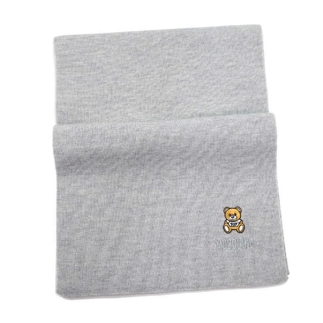 【MOSCHINO】刺繡泰迪熊純羊毛圍巾(014 灰色)