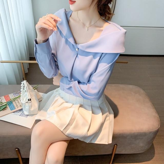 【白色戀人】純色珍珠單釦優雅翻領雪紡衫S-2XL