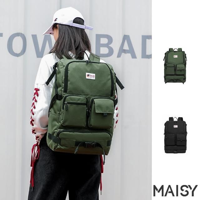 【MAISY】時尚旅行多口袋牛津布雙肩後背包(現+預 綠色 / 黑色)