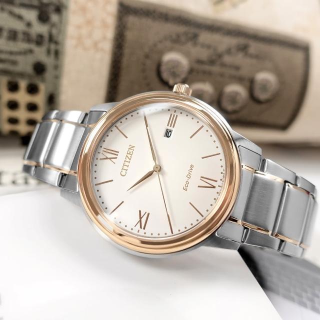 【CITIZEN 星辰】光動能 簡約時尚 日期 防水100米 不鏽鋼手錶 白x鍍玫瑰金 41mm(AW1676-86A)