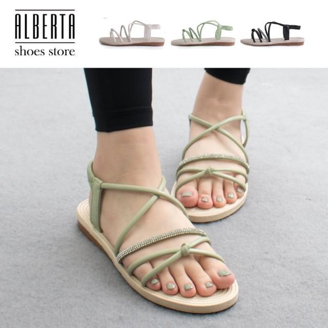 【Alberta】2cm涼鞋 氣質百搭細帶交叉水鑽 平底圓頭鬆緊涼拖鞋