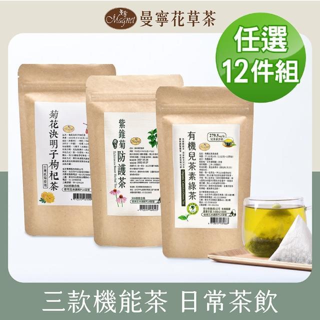 【曼寧】熱銷機能茶組 2-6g*10-15包*12組(菊花決明子枸杞/紫錐菊防護茶)