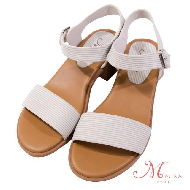 【MIRA】時尚俐落真皮條紋中跟柔軟好走涼鞋-米白色-W08117N09(真皮/條紋鞋面/中跟鞋/柔軟)